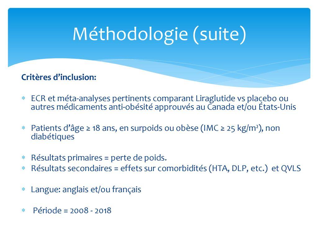 méta-analyse de la perte de poids du liraglutide