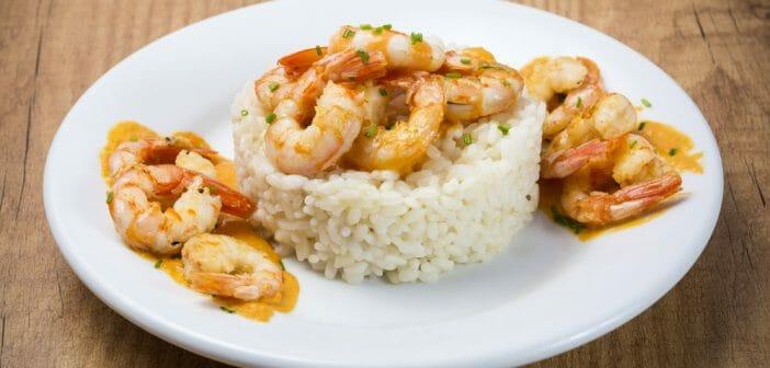 repas de perte de poids sains aux crevettes