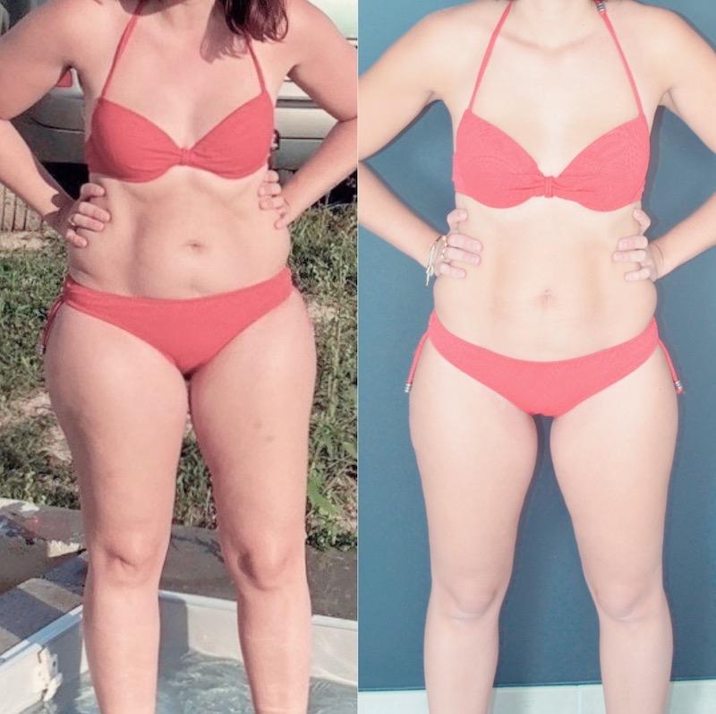 avant et après une perte de poids de 15 kg
