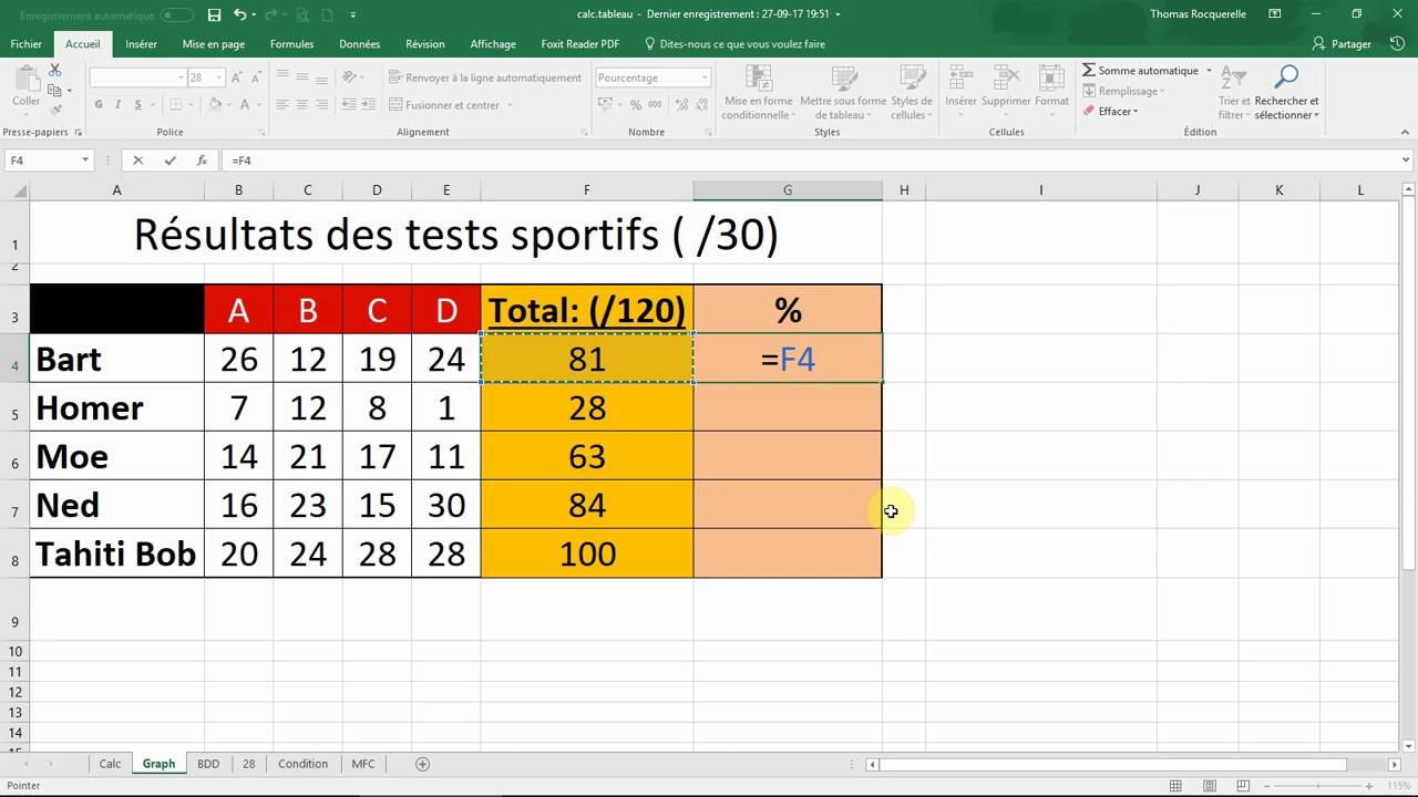 Comment calculer la perte de poids en pourcentage par Excel