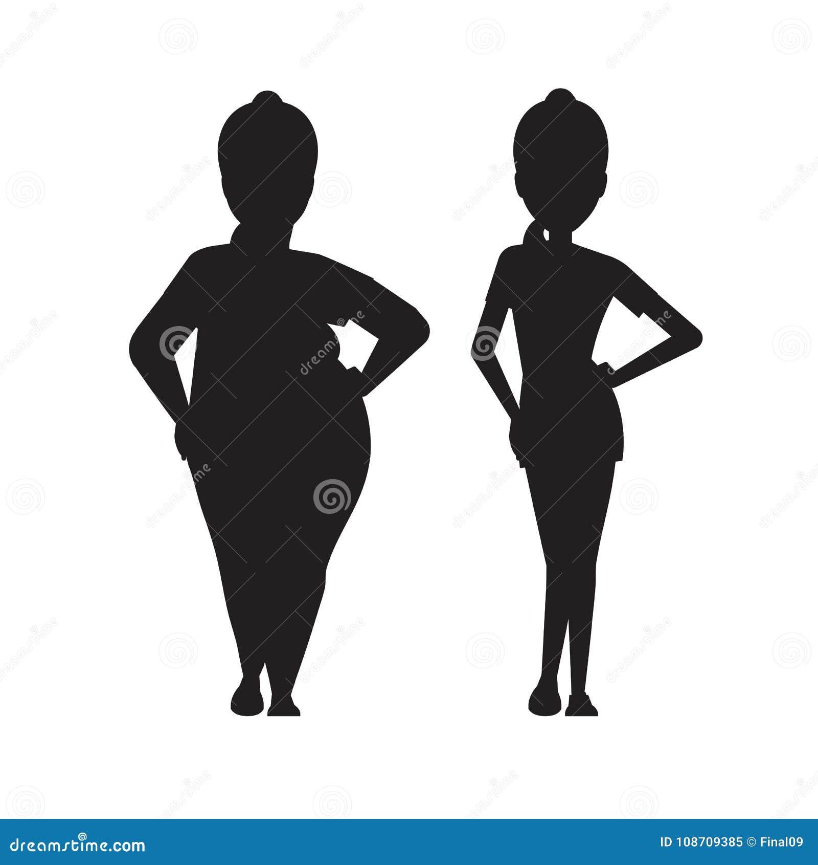 vecteurs de silhouette de perte de poids